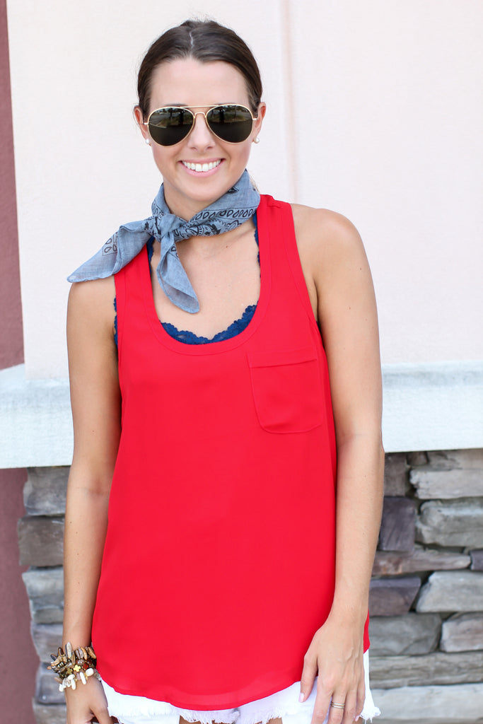 Everyday Pocket Tank - Red - A Cut Above Boutique