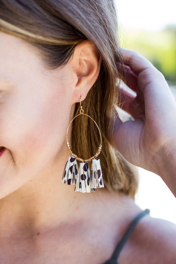 Pom Pom Leather Dangle Earring - A Cut Above Boutique
