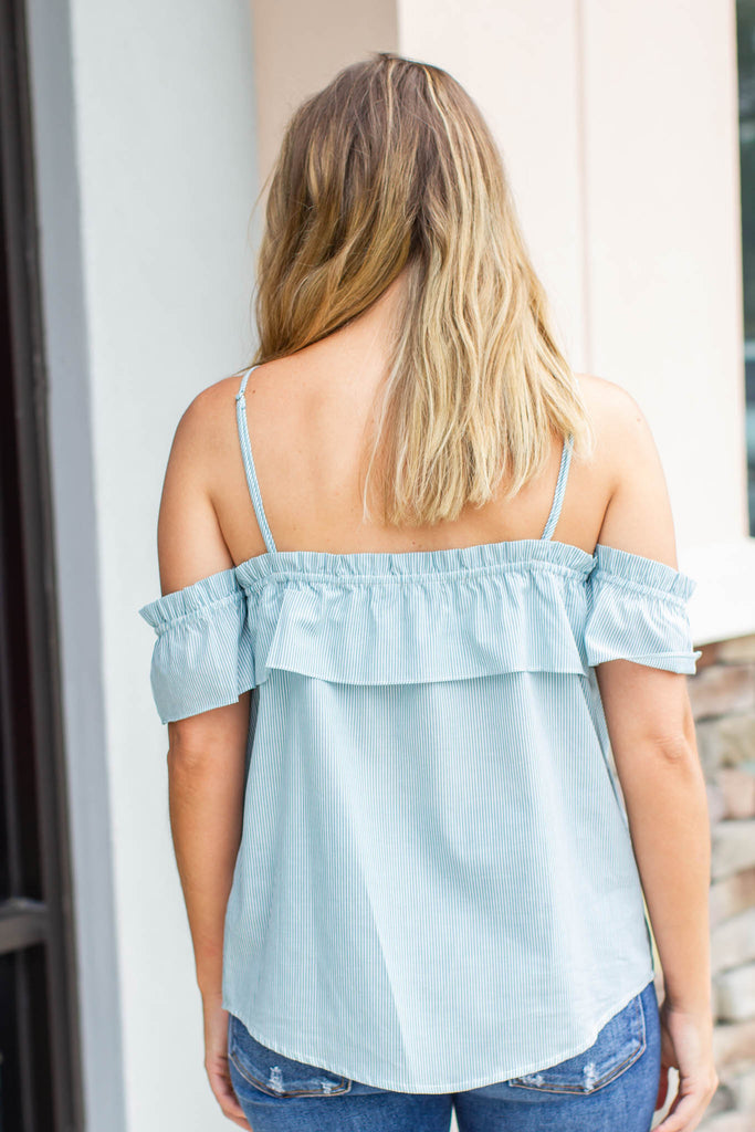 Flounce It Top - Sea Green - A Cut Above Boutique