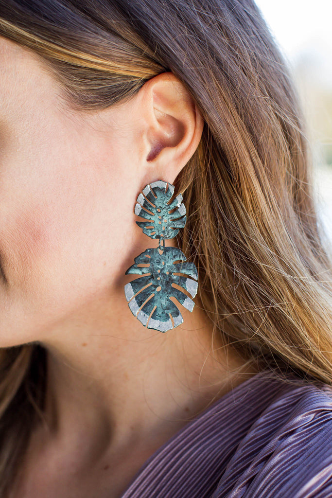 Vintage Turquoise Palm Earring - A Cut Above Boutique
