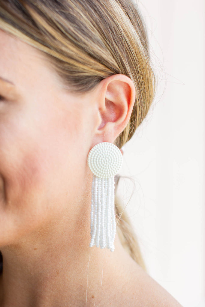 On It Tassel Earrings - White - A Cut Above Boutique