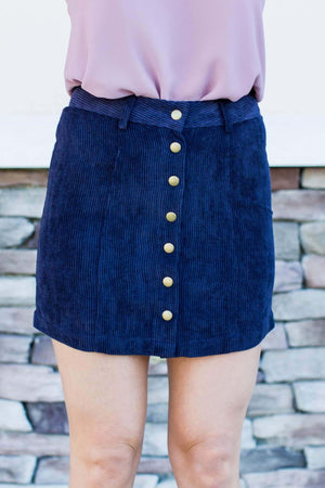 Corduroy Button Up Skirt - Navy - A Cut Above Boutique
