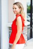 Tie It V-Neck Peplum Tank - A Cut Above Boutique