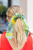 Scarf Scrunchie - Yellow + Green Tropics