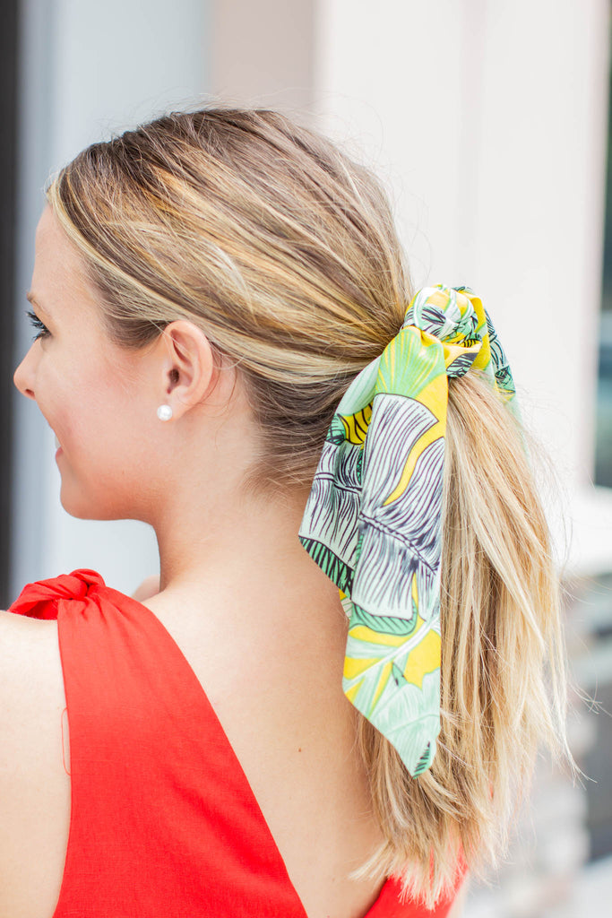 Scarf Scrunchie - Yellow + Green Tropics - A Cut Above Boutique
