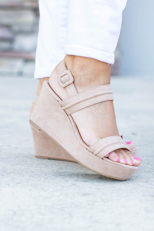 Over You Taupe Suede Wedge - A Cut Above Boutique
