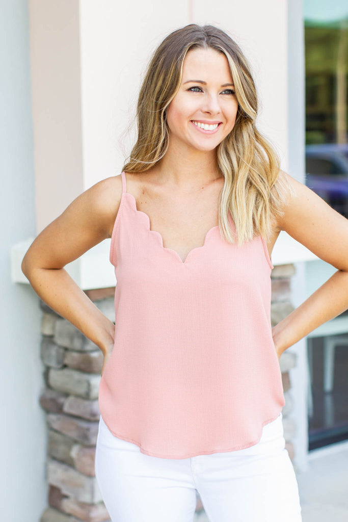 Scallop To Heart Tank - Dusty Rose