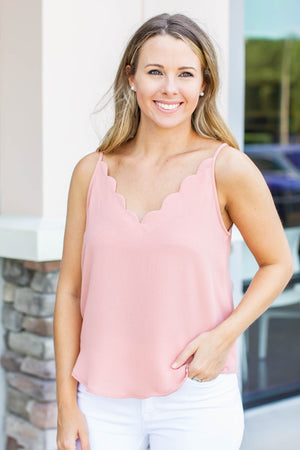 Scallop To Heart Tank - Dusty Rose - A Cut Above Boutique