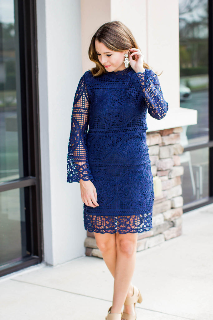 Love Goes Lace Dress - Navy - A Cut Above Boutique