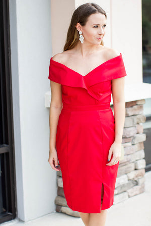 Show Some Shoulder Dress - Red - A Cut Above Boutique