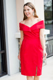 Show Some Shoulder Dress - Red