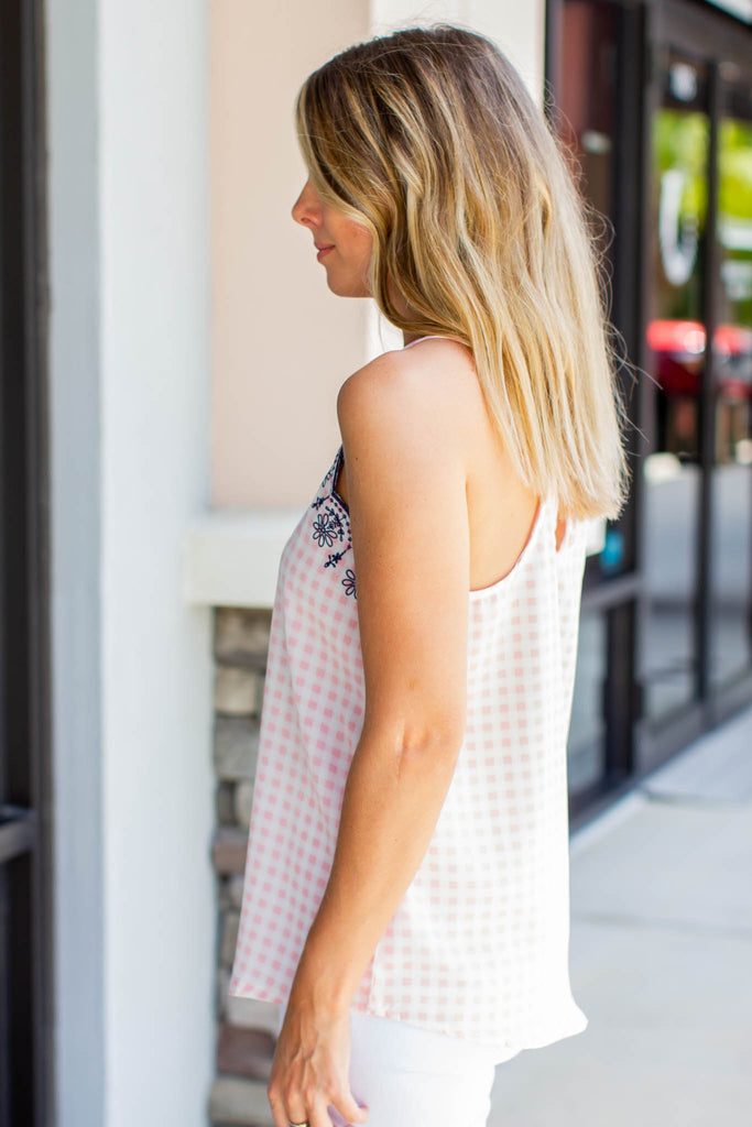 Like It Checked Scallop Tank - Pink - A Cut Above Boutique