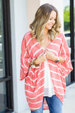 Off The Path Kimono - Coral - A Cut Above Boutique