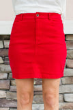 Knock Out Mini Skirt - Red - A Cut Above Boutique