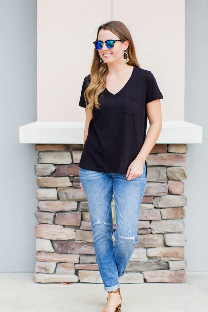Oh So Comfy Pocket Tee - Black - A Cut Above Boutique