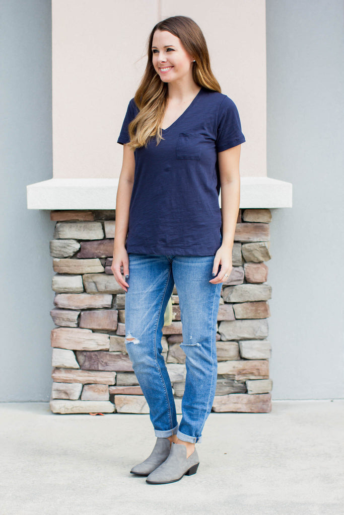 Oh So Comfy Pocket Tee - Navy - A Cut Above Boutique