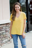 Oh So Comfy Pocket Tee - Mustard - A Cut Above Boutique