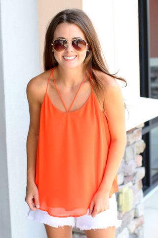 Come On Over Tank Top - Orange - A Cut Above Boutique