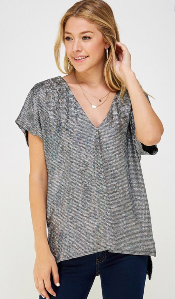 Up All Night Sparkly V-Neck Blouse