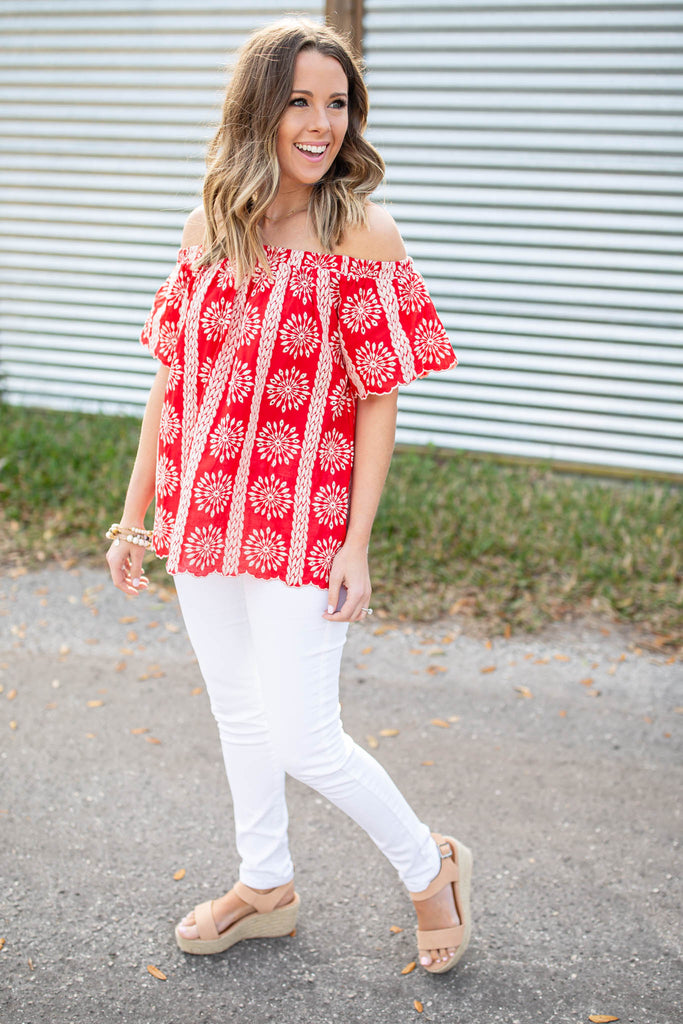 Red Hot Embroidered Off The Shoulder Top - A Cut Above Boutique