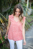Miss Proper Ruffle Shoulder Tank - Salmon - A Cut Above Boutique