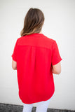 Around We Go Blouse - Red - A Cut Above Boutique