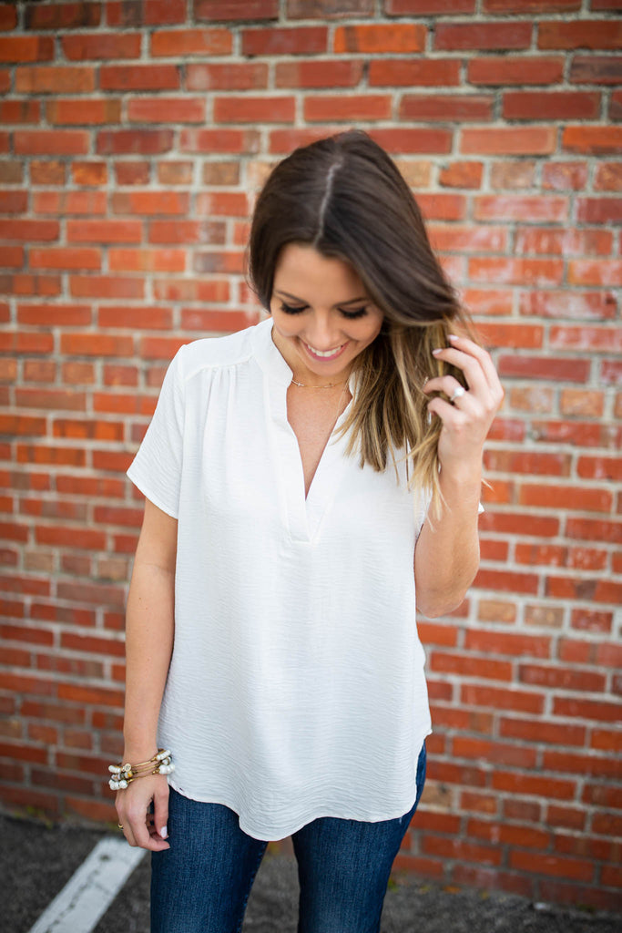 Around We Go Blouse - Ivory - A Cut Above Boutique