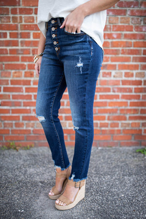 City Rush High Rise Button Front Jean - A Cut Above Boutique