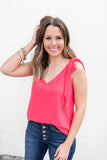 Tied Just Right Tank - Coral - A Cut Above Boutique
