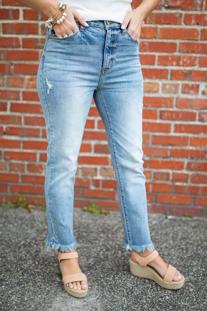 High Rise Ankle Fray Girlfriend Jean - A Cut Above Boutique