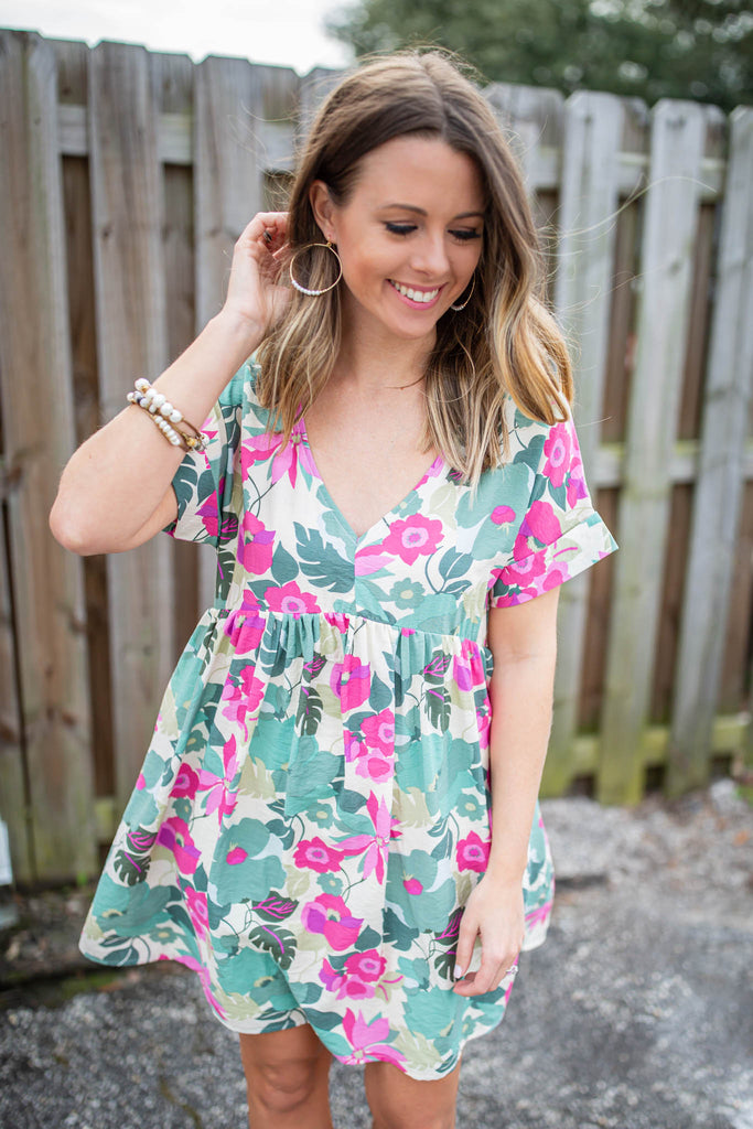 Romance Calls Babydoll Dress - Sage + Pink - A Cut Above Boutique