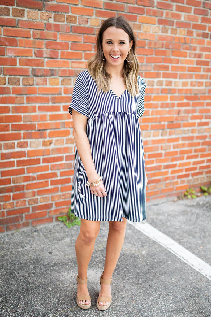 Get Striped Babydoll Dress - Navy - A Cut Above Boutique