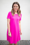 Weekend Warrior T-Shirt Dress - Fuchsia - A Cut Above Boutique