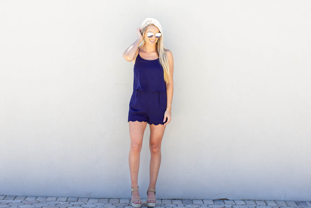 Next Up Scallop Romper - Navy - A Cut Above Boutique