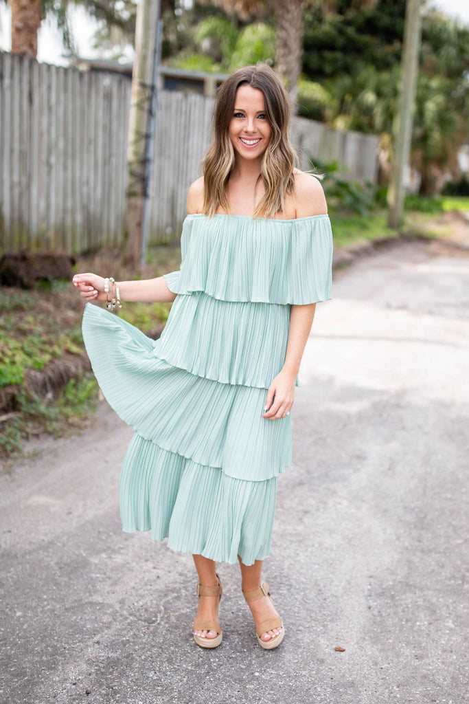 Flounce With It Midi Dress - Seafoam - A Cut Above Boutique