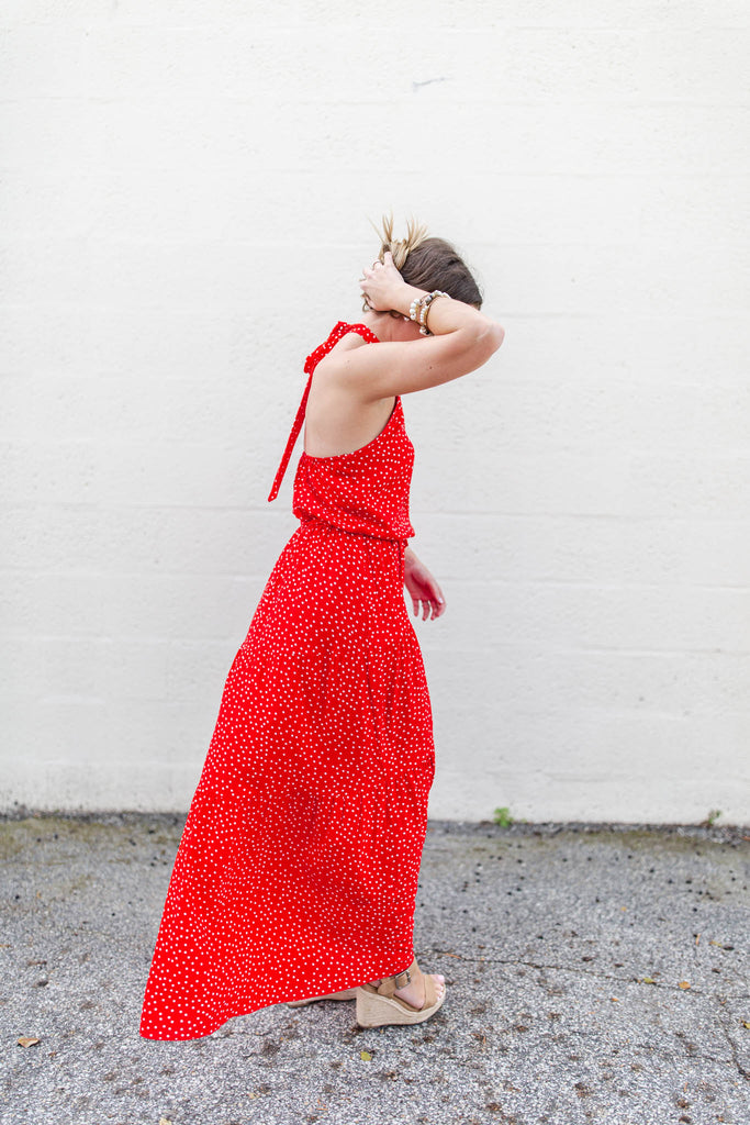 Miss Polka Dot Halter Maxi - Red - A Cut Above Boutique