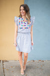 Frills Stripe Embroidered Dress - Gray