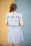 Frills Stripe Embroidered Dress - Gray - A Cut Above Boutique