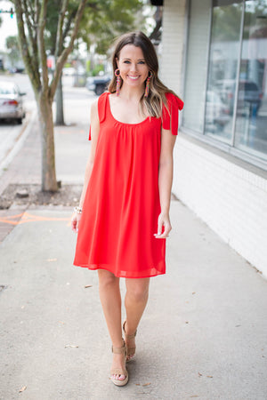 Lilly Bow Shoulder Shift Dress - Red - A Cut Above Boutique