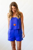 Next Up Scallop Romper - Royal Blue