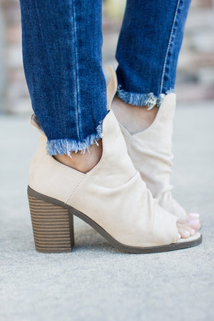 Get Right Faux Suede Bootie - Stone - A Cut Above Boutique