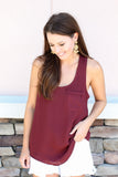 Everyday Pocket Tank - Wine - A Cut Above Boutique