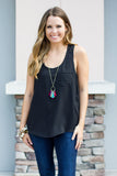 Everyday Pocket Tank - Black - A Cut Above Boutique