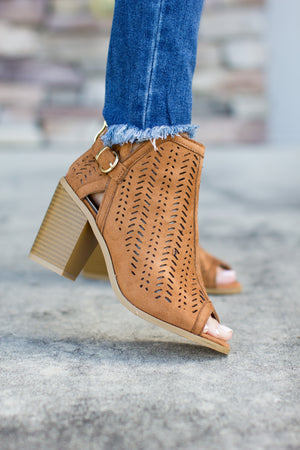 Try Me Peep Toe Bootie - Tan - A Cut Above Boutique