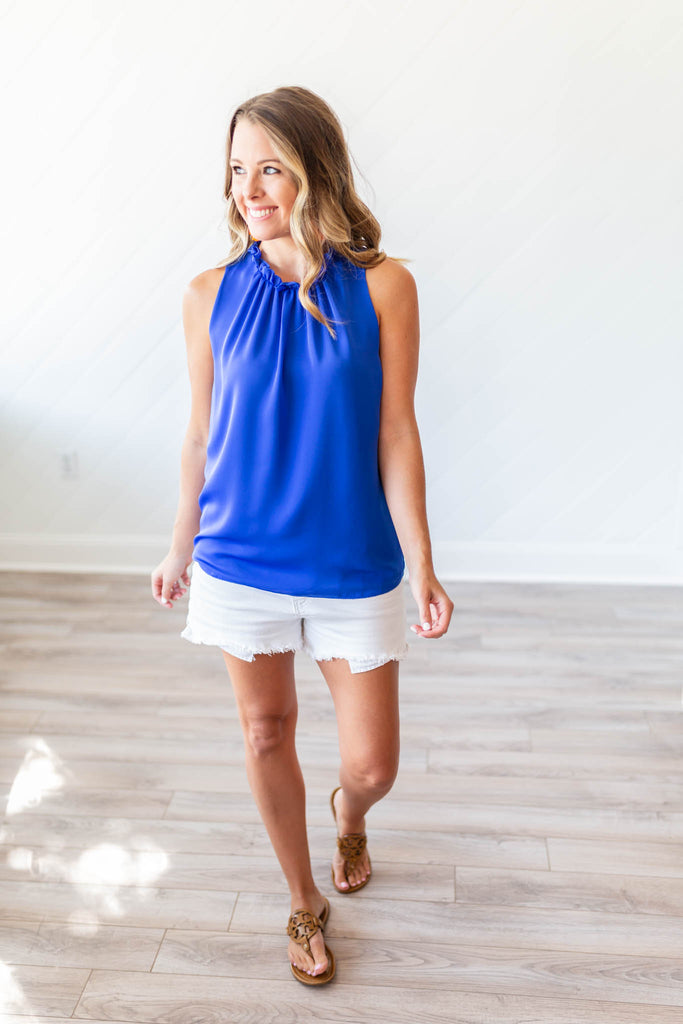Frills Pleated Mock Tank - Royal Blue - A Cut Above Boutique