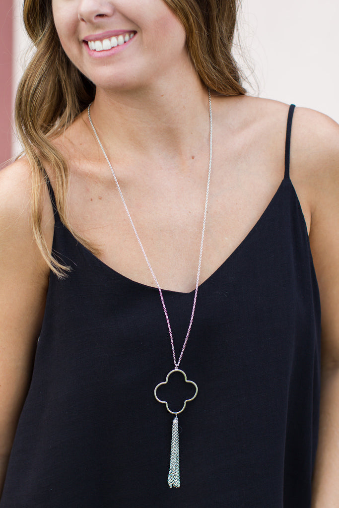 Quatrefoil Tassel Necklace - Silver - A Cut Above Boutique
