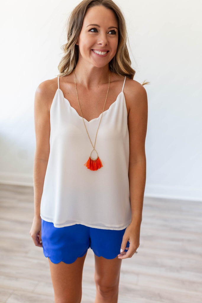 Take It Scallop Tank - White - A Cut Above Boutique