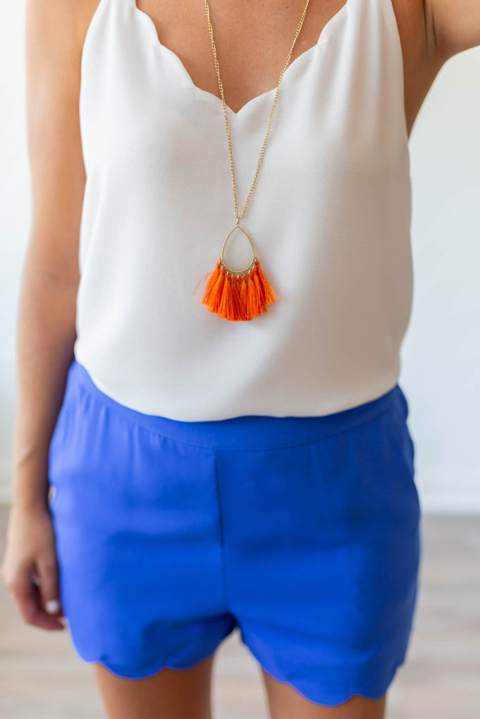 Gameday Tassel Necklace - Orange - A Cut Above Boutique