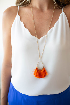 Gameday Tassel Necklace - Orange
