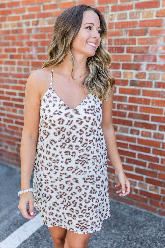 Unsteady Leopard Dress - Ivory - A Cut Above Boutique